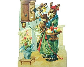 Germany Large Lithograph Die Cut Paper Scrap Easter Bunnies Rabbit  5114