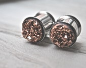 Stainless Steel Rose Gold Druzy Plugs 1/2 inch (12mm)