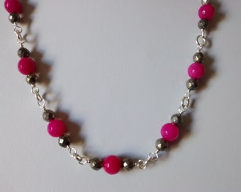 Hot Pink Necklace - pink Necklace - Pyrite - FREE SHIPPING WORLDWIDE