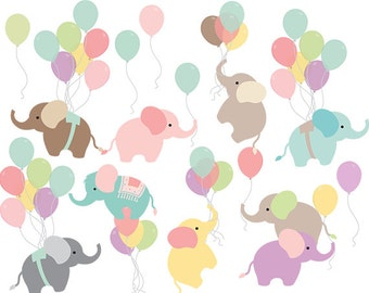 Nursery clipart - baby elephant clip art balloon elephants with balloons sweet whimsical pastels baby animal clipart personal commercial use