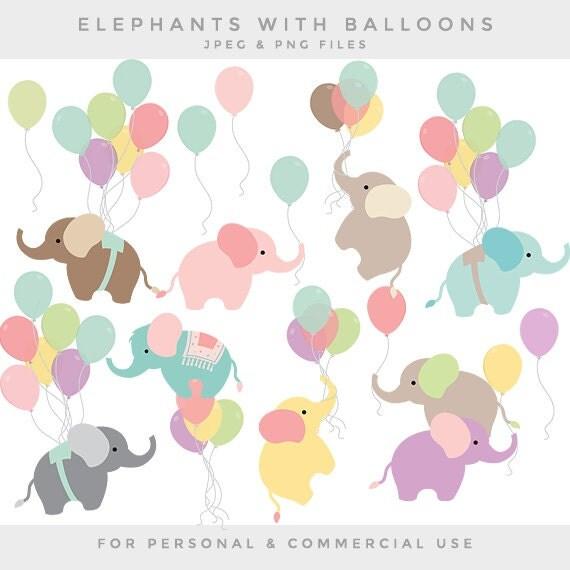Nursery clipart baby elephant clip art balloon elephants