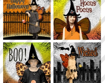 Digital Halloween Collage Sheet, Witch Images,  2 X 2 inches, Halloween Images (Sheet no.FS241) Instant Download