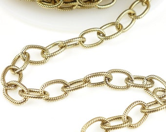 TierraCast 9mm x 6mm Cable Chain Antique Gold Chain Large Embossed Heavy Link Charm Bracelet Chain Open Link Chain  20-0325-26
