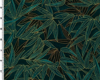 Bamboo Leaves Teal Kona Bay Fabric 1 yard
