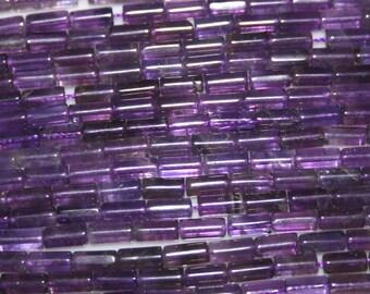 """AMETHYST Gemstone Cylinder beads 4x8mm 11gr 16"""" Strand 49 pieces   9115"""