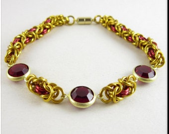 Chain Mail Bracelet Red and Gold Byzantine Chainmaille with Red Crystal Links