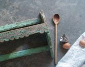 Antique Painted Wood Shelf, Primitive Mortar and Pestle Shelf, 19th Century, French Country, Vintage Farmhouse,