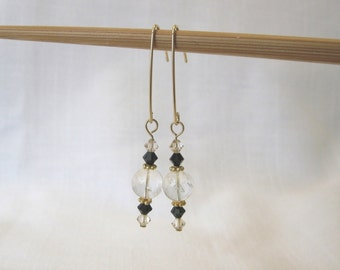 ETHEREAL Beaded Long Drop Earrings, Clear Quartz Crystal Rounds, Black and Gold Swarovski Crystal, 14k Gold Filled Ear Wires, Free Shipping
