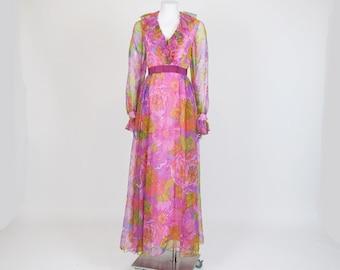 60s Chiffon Dress / Vintage Maxi / 1960's Pink Dress /Floral Print