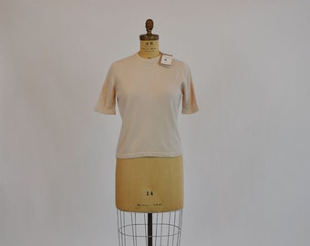 1950s sweater / Staple Vintage 50's Short Slv Cashmere Sweater Never Used