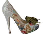 Alice in Wonderland Shoes..  Wedding Shoes.. Digital Imaging Shoes. Mad Hatter.. Crystal Heels... FREE US Postage