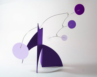 "THE MODERNE Purple Midcentury Modern Art Stabile Tabletop Sculpture 14""h x 18""w Modern Colors Eames"
