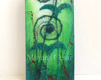 Unfurling XXII original mixed media artwork, home decor, fern, fiddleheads, collectible art mounted on cradled wood panel 12 x 6