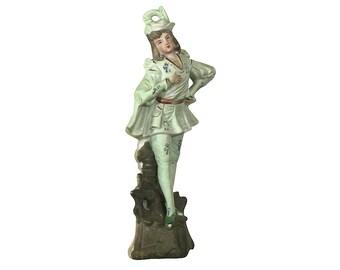 1900s Folklore Figurine, Antique Porcelain 18th Century Man