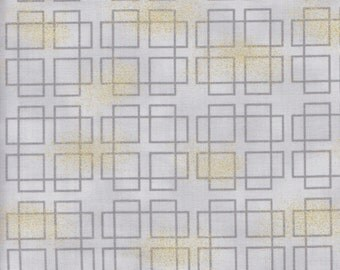 Kaufman Asian Traditions Metallic 14826 12 Grey Layered Squares by the yard