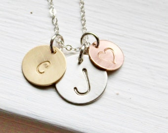 Personalized Necklace, 3 Initials Necklace, Hand Stamped Necklace Mothers Necklace, Mixed Metal Three Initials Necklace Personalized Jewelry