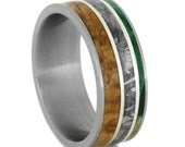 Mens Wood Ring with Black Ash Burl and Green Box Elder Burl Inlays, Titanium Wedding Band With Sterling Silver Pinstripes, Meteorite Ring