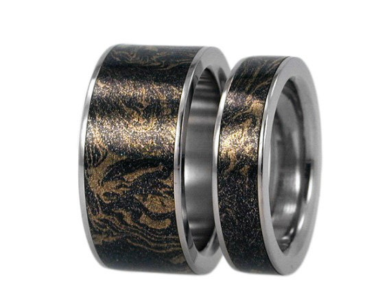 14K Gold and Black Titanium Ring with Mokume Gane inset, Unique Wedding Ring Set
