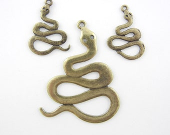 Set of Curled Snake Burnished Gold-tone Pendant and Charms