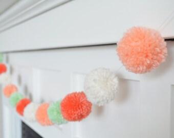 Yarn Pom Pom Garland - The Phoebe : Coral, Peach, Mint, White - Nursery, Baby Shower, Bedroom, Photo Decor!
