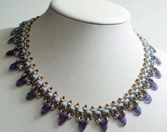 MONI LUNA Czech Half Moon Leaves and SuperDuo Beadwork Necklace tutorial instructions for personal use only