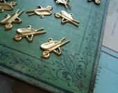 10 pc wheelbarrow gardening brass charm wheel barrow garden gardener  - old new stock jewelry supplies - destash