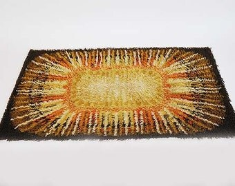 vintage rug / Vintage Mid century Modern Danish Rya Wool Rug Shag
