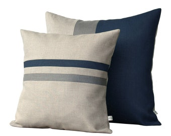 """Lake Colorblock & Striped Pillow Set with Grey Stripe by JillianReneDecor - 16""""x16"""" and 20""""x20"""" - Dark Teal - Decorative Pillow Covers"""
