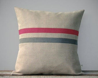 Raspberry and Stone Gray Striped Linen Pillow Cover - Decorative Pillow - Modern Home Decor by JillianReneDecor - Autumn Pantone Fall FW2015