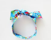 Florida Santa Head Scarf / Red, White, Aqua Christmas Neck Scarf / Handbag Adornment / Rockabilly Hair Accessory / Gift Under 15