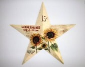 Cream Barn Star Sunflower Barn Star Spring Summer wall hanging Year round decor Fall Home decor  Front door decoration
