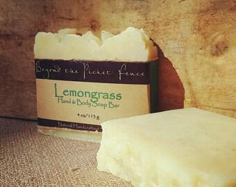 Lemongrass essential oil soap - handmade soap - exfoliating soap - cornmeal - mostly organic soap - lavender soap  -fragrant soap