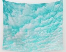 Cloud Wall Tapestry, Aqua Blue Large Size Wall Art, Nature Decor, Teal Tapestry, Cloudy Sky Tapestry, Mint Sky, Blue Tapestry, Ocean Blue