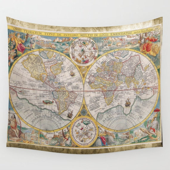 Old World Map Wall Tapestry Vintage Map Large Size Wall Art