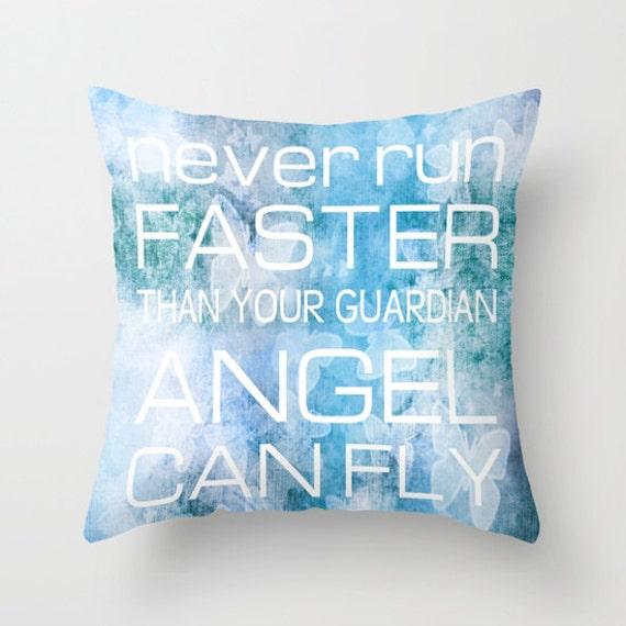 GUARDIAN ANGEL Throw Pillow, Text Pillow, Home Decor, Decorative Pillow Cover, Blue Lilac Cushion, Blue Pillow, Dorm Pillow, Inspirational