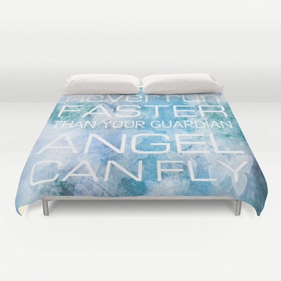 Guardian Angel Duvet Cover, Made to Order, Text Bedding, Lilac Blue Decorative Bedding, Blue Comforter cover, Inspirational Bedding, Modern