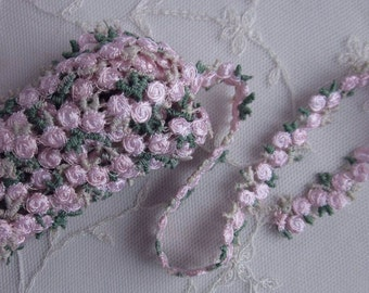 HAND DYED Pink Embroidered Rose Bud Flower Ribbon Trim Scrapbook Reborn Doll Quilt Sewing Couture