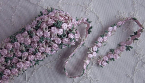 Hand dyed pink embroidered rose bud flower ribbon trim