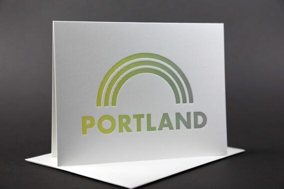 Rainbow Roll: PORTLAND letterpress card