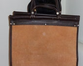 purse making supply  thick suede and top gran brown leather large panel with handles on dowel
