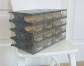 Vintage Metal Box Drawers Supply Storage Jewelry Organizer Industrial