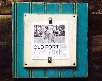Vintage Style Beadboard Photo Picture Frame Blue Beachy Beach Lake Cottage Shabby Chic CHEAP SHIPPING