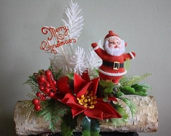 Merry Christmas Kitschy Santa On a Log
