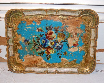 Vintage Prairie Chic Florentine Tray Italian Italy Shabby Rustic Chic Paris Apartment