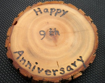 9th Anniversary Gift Willow Medallion with Wood Burned Inscription