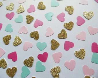 Gold Glitter Heart Confetti, Hot Pink Light Pink and Turquoise Shimmer Hearts, Table Scatter, Party Decoration, Bridal Shower Decor