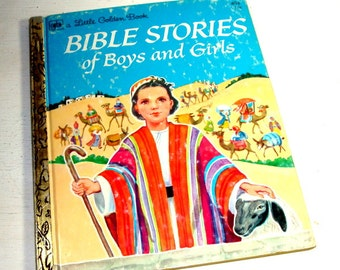 Bible Stories of Boys and Girls, Little Golden Book, Rebekah At The Well, David Sheperd King, Samuel, Miriam The Good Sister, 1974  (770-15)