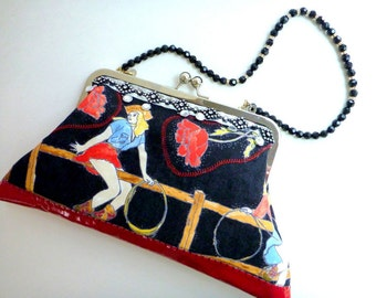 Rockabilly clutch bag, pinup cowgirl clutch, western bag, evening bag, boho clutch, retro western clutch, western wear, rockabilly wedding