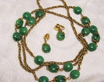 Vintage 1960's Crown Trifari Green Lucite Gold Colored Chain Necklace and Pierced Earring Set Beads Similar to Waterfall Trifari Set (J66)