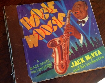 Vintage 78 Jazz Record Album Graphic Boogie Woogie Album 54 Jack McVea and his Orchestra A Black and White Presentation Saxophone Musician